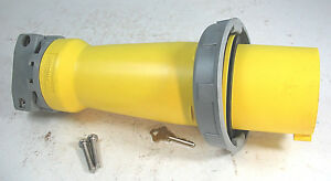 Hubbell IEC Pin and Sleeve Plug, Yellow,100 Amps, 125  VAC 2 Poles, HBL 3100P4W