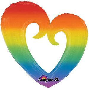 Rainbow Heart Foil Balloon - Large Helium Quality - Mardi Gras Party Supplies