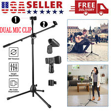 360-degree Rotating Microphone Stand Dual Mic Clip Boom Arm Foldable Tripod