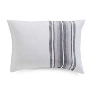 Hotel Collection Linen Plaid King Pillow Sham White Blue Gray