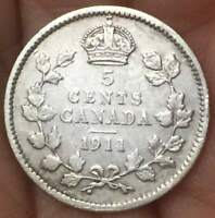 """1911 Canada 5 Cents Coin .925 Silver GEORGE V """"STERLING SILVER"""" **aUNC** COIN"""