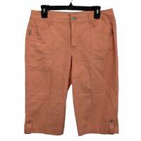 Bandolino Brady Fit Solid Orange Capri Pants Solid Orange Mid Rise Womens Size 8