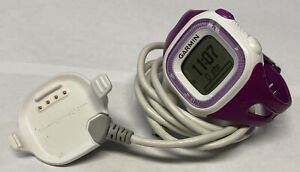 Garmin Forerunner 15 GPS Running Watch White Purple With Charging Cable