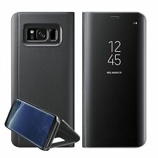 Luxury Mirror Smart Clear Flip Case Cover for Samsung Galaxy S7 Edge S8 Note 8 Samsung S8 Black