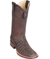 Los Altos BROWN1 Caiman Crocodile Square Toe TPU Rubber Sole Western Boot EE