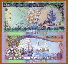 Maldives, 5 Rufiyaa, 2011, Pick 18 (18d), UNC > Sailboats