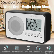 Digoo LCD Digital Stereo FM Radio Dual Alarm Clock Snooze Indoor Temperature
