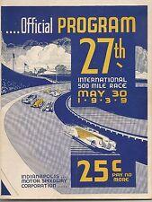 1939 Indianapolis 500 Official Program Wilbur Shaw Boyle Maserati