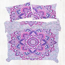 Pink Purple Lotus Floral Mandala  KING Size Duvet Quilt Cover Set Pillow Cases