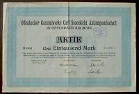 Offenbacher Gummiwerke Carl Stoeckicht 1000 Mark Berlin 1923 unentw. + Kupons