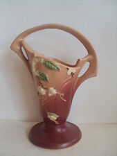 """Vintage Original Roseville Snowberry 10"""" Pink Snowberry Basket Vase. Excellent!"""