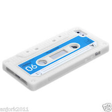 APPLE iPhone 5 RETRO STYLE CASSETTE TAPE SILICONE SKIN COVER CASE WHITE