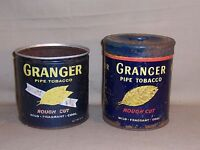 Lot of 2 Vintage Granger Pipe Tobacco Tin Containers 14 oz Collectible Decor