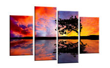 Colourful Sunset Tree Canvas Orange Violet Wall Art Pictures Split Multi  40""
