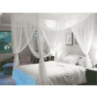 4 Corner Post Bed Canopy Mosquito Net Queen King Size Netting Bedding White JS