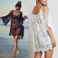 2018 Women Beach Dress Sexy Strap Sheer Floral Lace  Crochet Summer Dresses TS