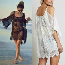 2018 Women Beach Dress Sexy Strap Sheer Floral Lace  Crochet Summer Dresses I✿