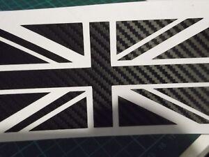 Union Jack Carbon Fibre EFFCT Stickers Car Window  Vinyl Stickers X2