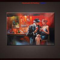 Hand Painted Modern Pop Art Wall Cigar bar Men and women Oil Painting on Canvas