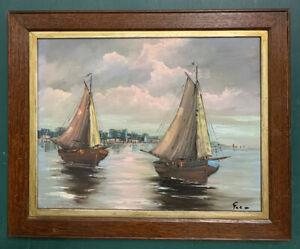 Mid Century Impressionist Seascape Oil On Canvas Painting, Signed