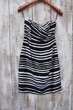 H&M Women Size 6 Blue White Striped Strapless Above Knee Length Dress