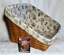 Longaberger Book Keeper Basket with Botanical Fields Liner, Protector and Card