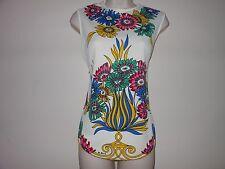 Vintage 70s Womens Mr Dino Neon Shirt Top Sleeveless Flora Pink Blue Green Med