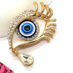 Betsey Johnson White Rhinestones Turkish Lucky Blue Eyes Crystal Brooch Pin Gift