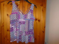 1 Pretty purple and pink pattern loose fit hip length summer top, TU size 8, NEW