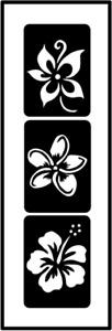 Glitzer Tattoo Schablonen 3 teilig Blumen, Airbrush