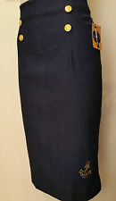 Rockabilly Pinup Vintage Nautical High Waist Denim Pencil Wiggle Skirt SIZE L