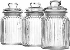Set of 3 990ml Ribbed Glass Jars Kitchen Tea Coffee Sugar Sweet Storage Pots