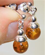 925 Sterling Silver  Cognac Amber Dropper Drop  Ball Bead Stud Earrings