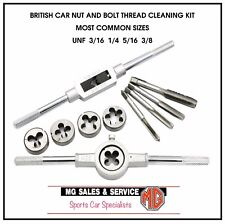 TOOLTAPDIESET1 MG MGA MGB MGC SET OF 8 RE-THREAD UNF TAPS AND DIES WITH HANDLES