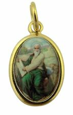 Gold Toned Base with Epoxy Image Catholic Saint Luke Medal Pendant, 1 Inch