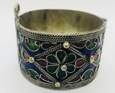 Antique Silver & Enamel Berber Ethnic Tribal Bracelet