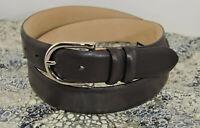 Trafalgar Men's Brown Leather Dress or Casual Belt Nickel Silver Buckle Size 36