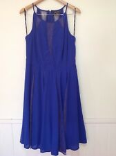 City Chic Plus XS/14 Blue High Neck Lace Insert Pleated Summer Cocktail Dress