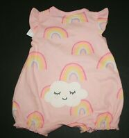 New Carter's Girls 1 Piece Outfit Romper Rainbow Happy Cloud Pink 3 6m 9m 18m 24
