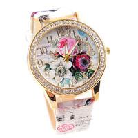 Fashion Women Girl Rose Flower Crystal Fuax Leather Bracelet Quartz Wrist Watch