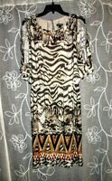 Lennie for Nina Leonard Brown/Beige Animal Print POLYESTER Light Knit Dress SZ S