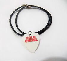 """COLD CHISEL guitar pick plectrum braided LEATHER NECKLACE 20"""" WHITE"""