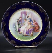 "German Furstenberg 1902 Cobalt Blue & Gold ""The Toilet Of Venus"" 9 3/4"" Plate"