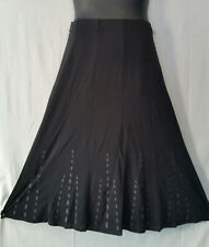 Women Clothing Stretch Skirt Elastic Waist Midi Below Knee Black Gray Size XL
