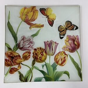 Michel Design Works Glass Tulip and Butterflies Plate Spring Easter