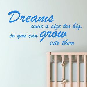 BIG DREAMS BEDROOM WALL STICKER ART DECAL QUOTE