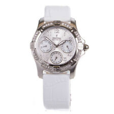 Festina Ladies Silver Crystal Dial White Leather Strap Watch F16021/B