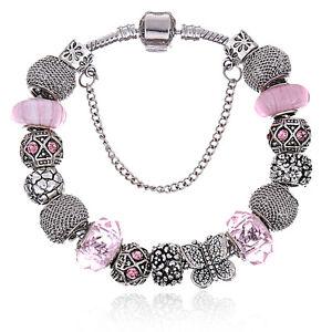 WOW Silver Pink Rhinestone Butterfly Murano Beads Charm European Bracelet