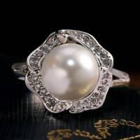 Gorgeous Women White Pearl 925 Silver rings Elegant Wedding Party Ring Size 6-10