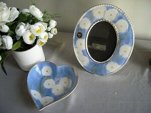 Royal Tara- Blue with White Flowers -   Heart Dish and Picture Frame - RARE